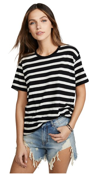 R13 boy striped tee in black w/ white judy stripe