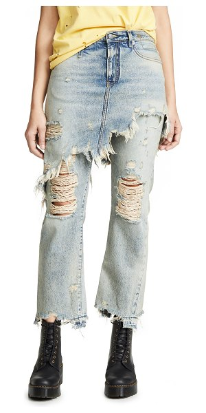R13 double classic skirted jeans in leyton