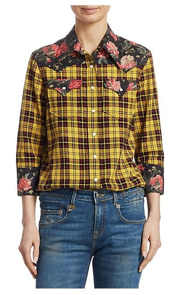 R13 floral plaid cowboy shirt in yellow black floral
