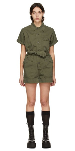 R13 khaki surplus romper in olive