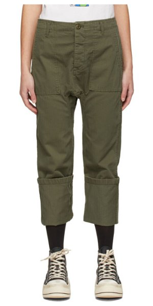 R13 khaki utility drop crotch trousers in olive