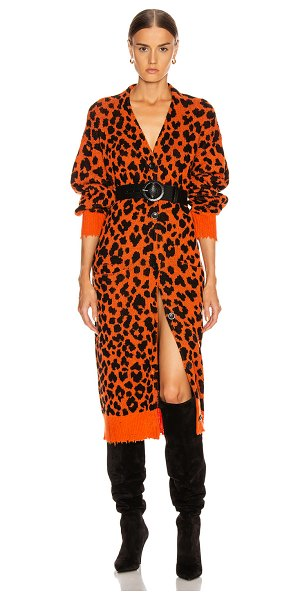 R13 leopard long cardigan in orange leopard
