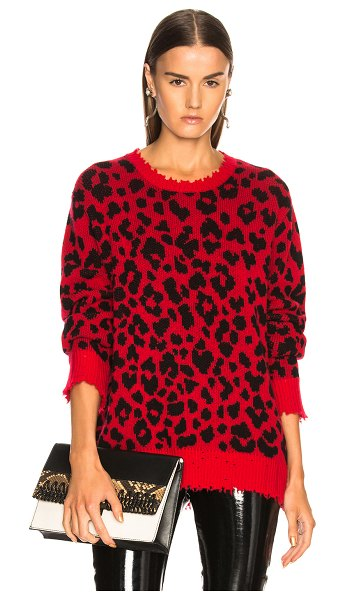 R13 Leopard Sweater in red - 100% virgin wool.  Made in China.  Hand wash.  Knit...