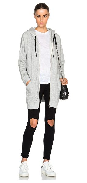 R13 Long Hoodie Sweatshirt - 100% cotton.  Made in China.  Zip front closure.  Side slit...