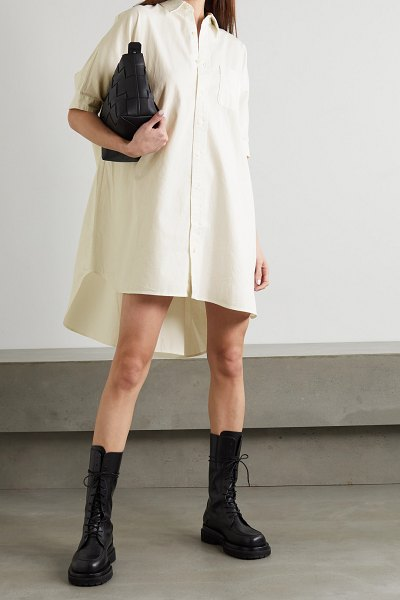 R13 oversized cotton-drill shirt dress in white