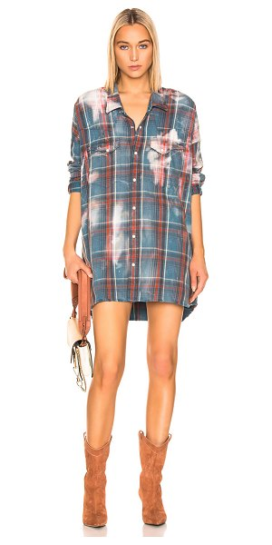 R13 oversized cowboy shirt in blue plaid & bleach stains
