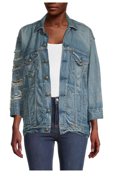 R13 Oversized Destroyed Denim Jacket in blue