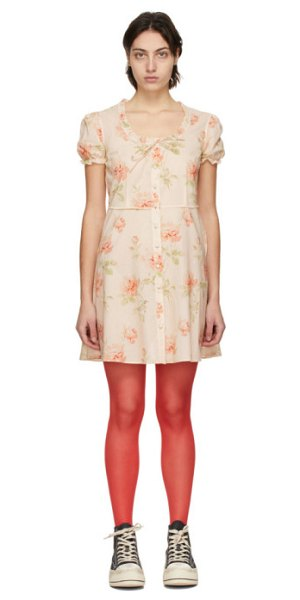 R13 pink front button-up babydoll dress in pale rose