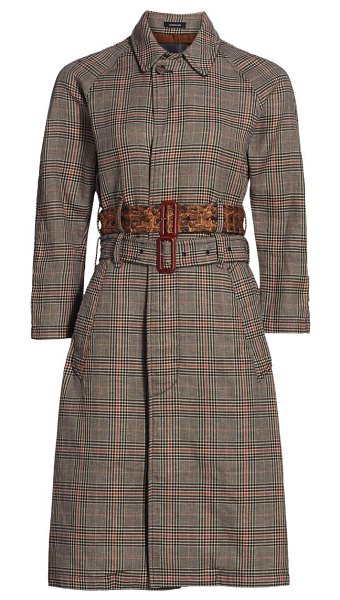 R13 plaid dual-belted trench coat in multi plaid