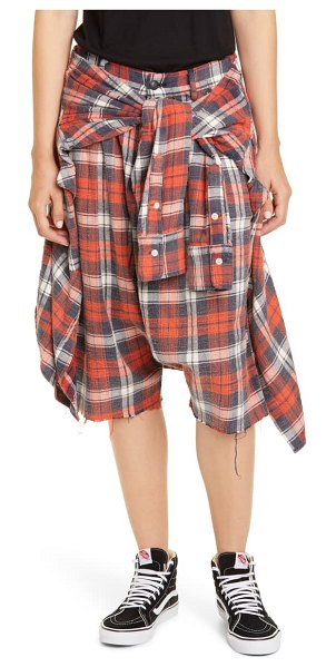 R13 plaid flannel shorts in red/ blue plaid