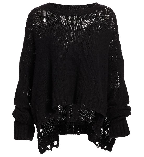 R13 shredded oversized cashmere sweater in black
