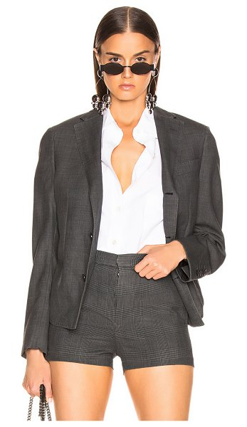 R13 Tucked Boyfriend Blazer in gray,plaid - Wool blend.  Made in USA.  Dry clean only.  Button front...