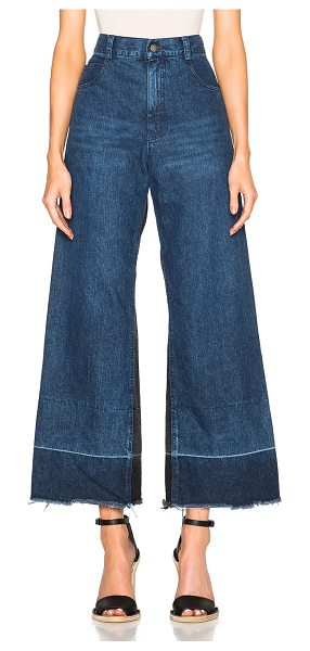 RACHEL COMEY Legion - 100% cotton.  Made in USA.  Whiskering effect on front...