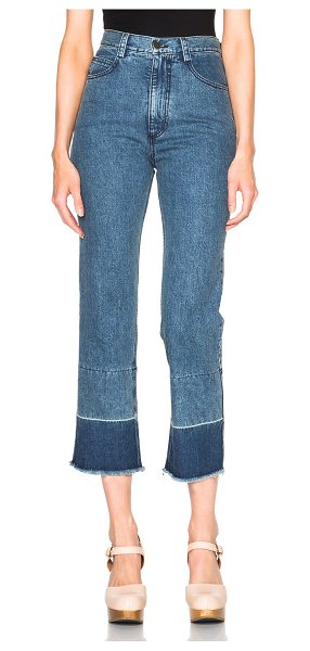RACHEL COMEY Slim Legion in blue - 100% cotton.  Made in USA.  Lightly distressed fabric...