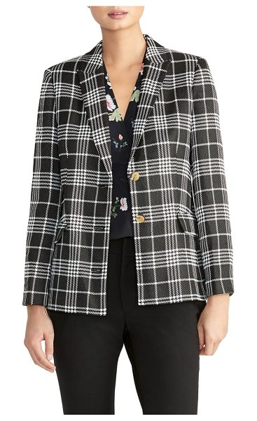 RACHEL ROY COLLECTION plaid blazer in black/ ivory combo - Spruce up your work wardrobe with the jaunty check plaid...