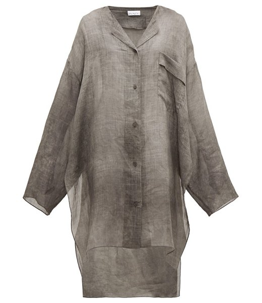 RAEY sheer linen shirtdress in grey