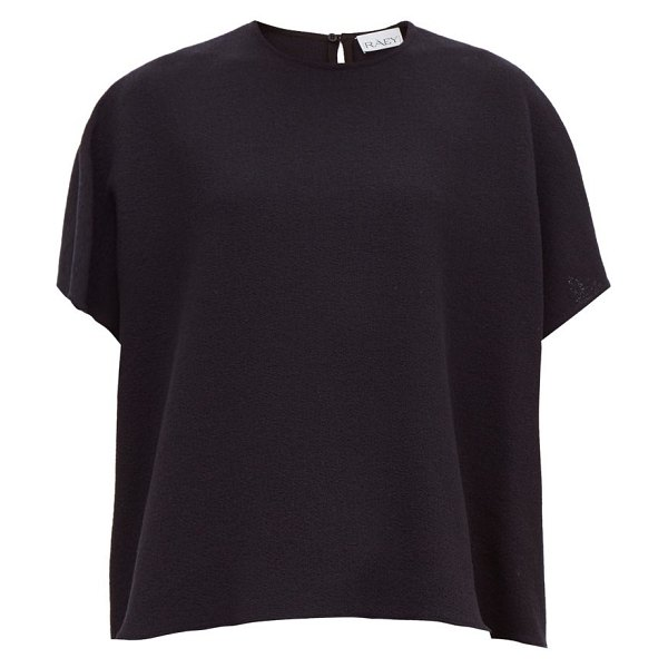 RAEY square wool-crepe top in navy