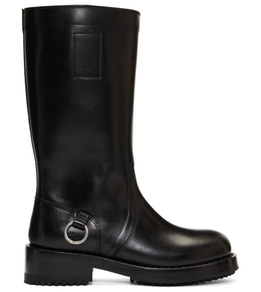 Raf Simons black piercing tall boots in 00099 black