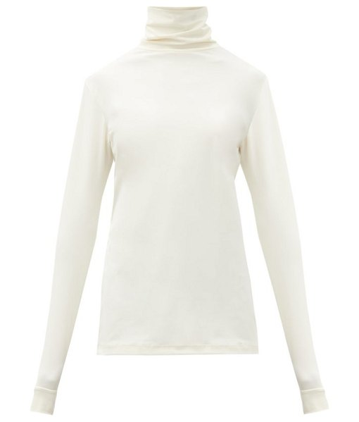 Raf Simons r-embroidered roll-neck jersey top in cream