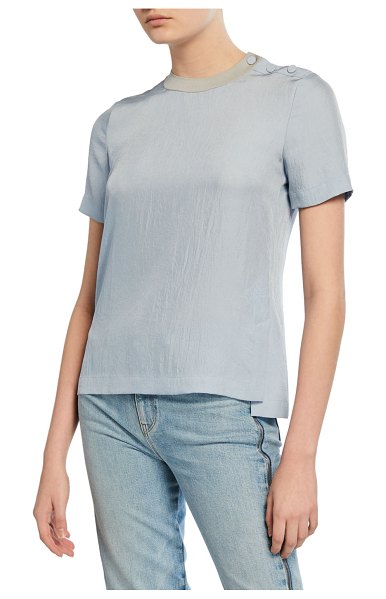 Rag & Bone Aiden Side-Split Crewneck Tee w/ Buttons in fog