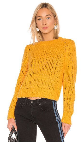 Rag & Bone Arizona Crew Neck Sweater in yellow - 100% merino wool. Dry clean only. Thick knit fabric with...