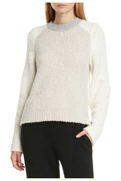 Rag & Bone davis colorblock crew sweater in ivry