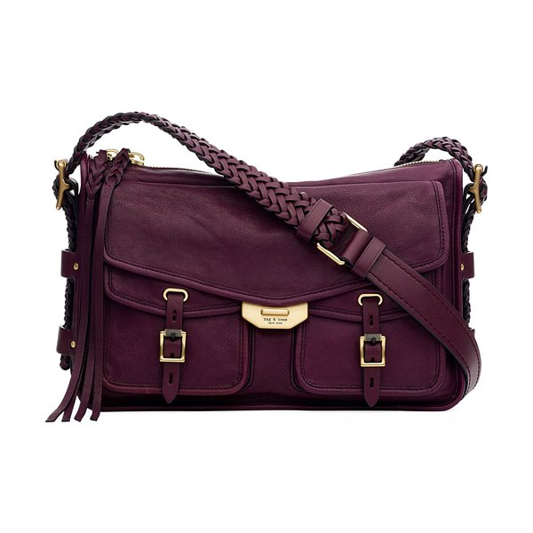 Rag & Bone Field Leather Crossbody Messenger Bag in dark purple