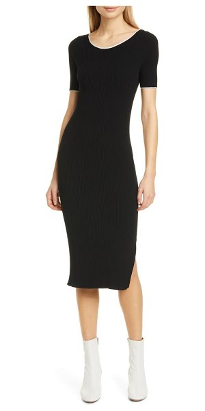 Rag & Bone kishi seamless rib midi sweater dress in black