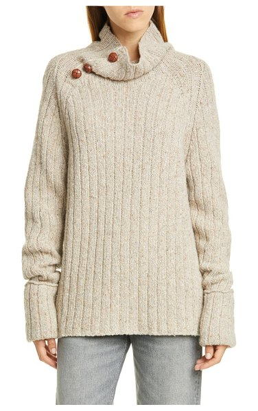 Rag & Bone klark ribbed wool blend mock neck sweater in ivory