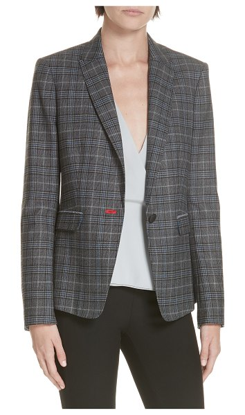 Rag & Bone lexington plaid blazer in dkgry/ bluchk - Plaid insets offer playful contrast at the underside of...