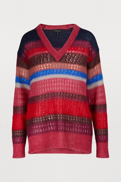 Rag & Bone Nassau sweater in berry - This Nassau sweater wraps the rag & bone woman in soft...
