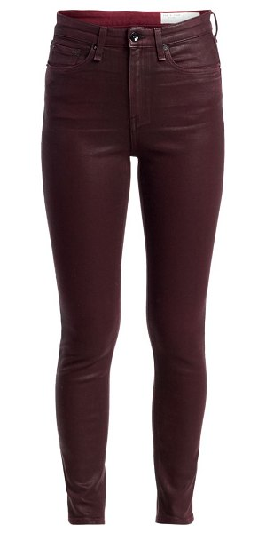 Rag & Bone nina high-rise coated ankle skinny jeans in coated wine