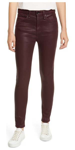 Rag & Bone nina high waist ankle skinny jeans in coatedwine