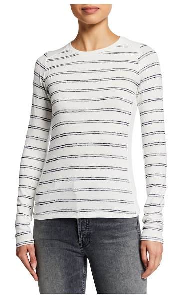 Rag & Bone The Knit Summer Stripe Long-Sleeve Tee in whtnvystrp