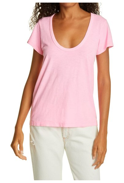 Rag & Bone the slub u-neck t-shirt in bright pink