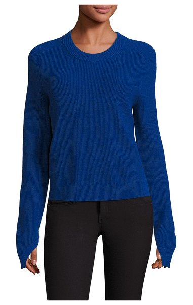 Rag & Bone Valentina Cashmere Cropped Top in bright blue - EXCLUSIVELY AT SAKS FIFTH AVENUE. Rib-knit sweater in...