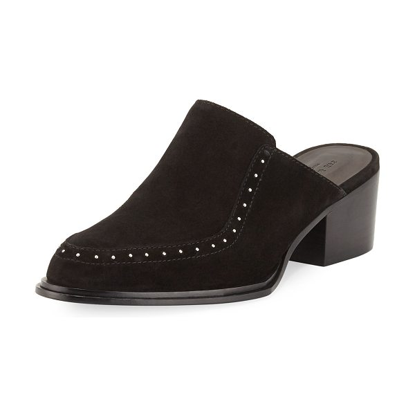 RAG & BONE Weiss Studded Suede Flat Mule - Rag & Bone suede mule with stud trim and boot-style welt....