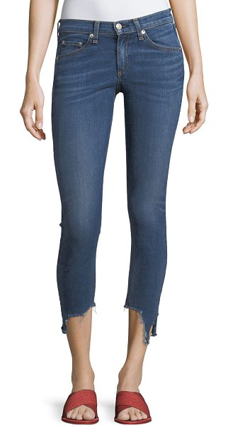 "RAG & BONE 10-Inch Capri Jeans w/ Destroyed Hem - rag & bone/JEAN 10"" capri jeans in faded medium-wash denim...."