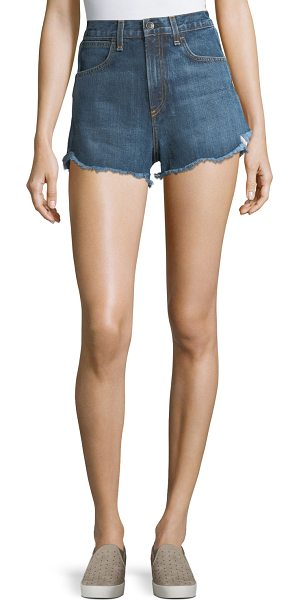 "RAG & BONE Lou High-Waist Cutoff Denim Shorts - rag & bone/JEAN ""Lou"" jean shorts in faded medium-wash..."