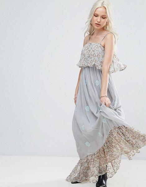 "RAGA Amor In Tambor Ruffle Maxi Dress - """"Maxi dress by Raga, Lined chiffon, Square neck,..."