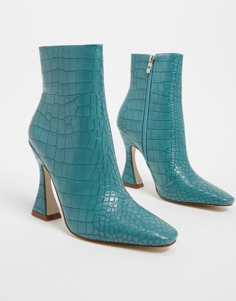 Raid kate flared heel ankle boots in blue croc in blue