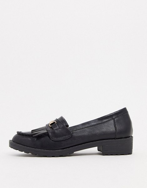 Raid kiltie fringed flat loafers in black with gold trim in black