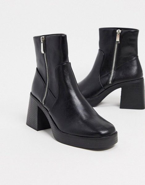 Raid leonore chunky ankle boots in black in black