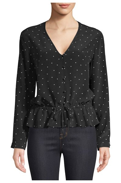 Rails Beaux Mini Hearts Button-Front Tie-Waist Silk Blouse in black ivory