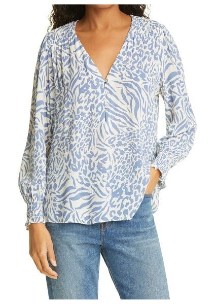 Rails brinley animal print blouse in blue mixed animal