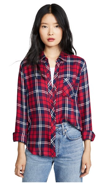 Rails hunter button down shirt in scarlet/midnight/white