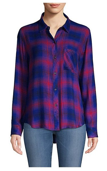 Rails hunter plaid button-down shirt in azure scarlet - Psychedelic plaid print lends a faded vintage aesthetic...