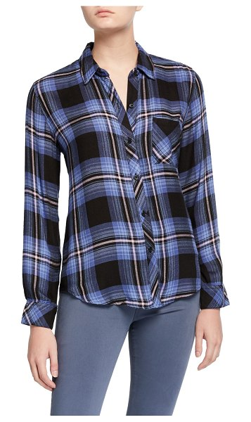 Rails Hunter Plaid Button-Down Top in blue/pink