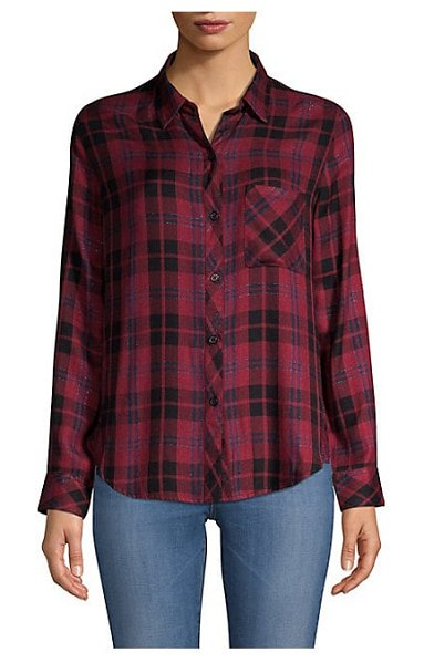 Rails hunter plaid pocket button-down shirt in wine navy