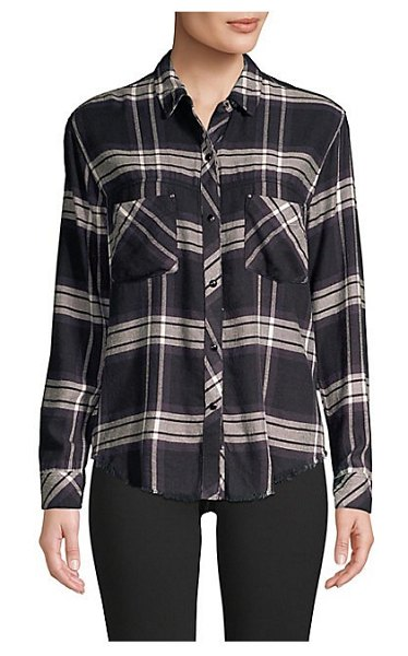 Rails leo rayon plaid shirt in black ash white - Lightweight rayon collared shirt with fringed hem feels...
